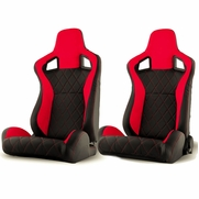 Spyder RST-SCS-01-RDX-DR PAIR SCS Style Racing Seat Suede/PU X (Double Slider) - Red/Black