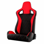 Spyder RST-SCS-01-RDX-DR SCS Style Racing Seat Suede/PU X (Double Slider) - Red/Black - Driver Side