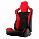 Spyder RST-SCS-01-RDX-PA SCS Style Racing Seat Suede/PU X (Double Slider) - Red/Black - Passenger Side