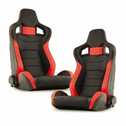 Spyder RST-SCS-02-BKR-DR PAIR SCS Style Racing Seat Carbon PU (Double Slider) - Black/Red