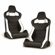 Spyder RST-SCS-05-WH-DR PAIR SCS Style Racing Seat 1pc PVC -  Black/White/Carbon (Double Adjust/slider)