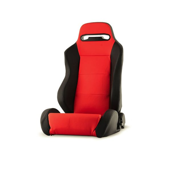 RST-TH-01-RD-DR Thunder Style Racing Seat PU (Double Slider) - Red/Black - Driver Side