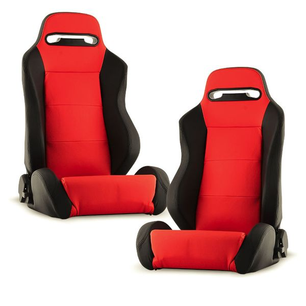 RST-TH-01-RD-PA PAIR Thunder Style Racing Seat PU (Double Slider) - Red/Black