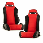 Spyder RST-TH-01-RD-PA PAIR Thunder Style Racing Seat PU (Double Slider) - Red/Black