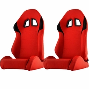 Spyder RST-XM2-01-RDB-DR PAIR XM-II Racing Seat PU (Double Slider) - Red/Black