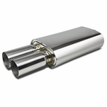 Stainless Steel Oval Exhaust Muffler - 2.5-inch Inlet 3-inch Dual Tip (Chrome Muffler)
