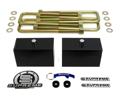 "Supreme Suspension 3"" Pro Billet Rear Lift Blocks for 2000-2013 Chevrolet Suburban 2500 2WD and 4WD (Fits 8-Lug Models Only)"