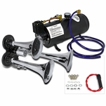 Triple Trumpets Air Horn 118Db+12V 150PSI Air Compressor+0.8 Gallon Tank Pump