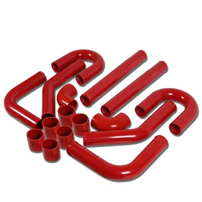 """Universal 2.25"""" 8pcs Red Front Mount Turbo Intercooler Piping+Silicone Hose+Clamps Kit"""