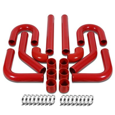 """Universal 2.75"""" 8pcs Red Front Mount Turbo Intercooler Piping+Silicone Hose+Clamps Kit"""