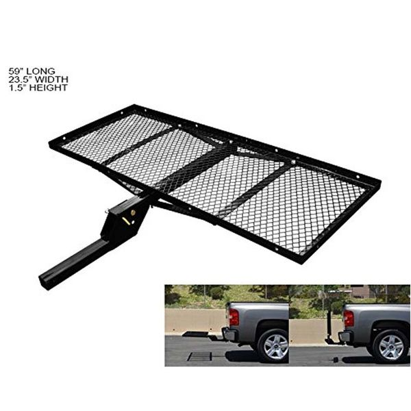 """Universal 2"""" Hitches Cargo Carrier - 300 Lbs- 23X59 Tray-Style Fold Up - Black"""