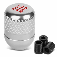 Universal 5-Speed Silver Anodized Aluminum Netted Racing Shift Knob