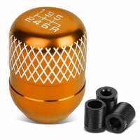 Universal 6-Speed Orange Anodized Aluminum Netted Racing Shift Knob