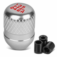 Universal 6-Speed Silver Anodized Aluminum Netted Racing Shift Knob