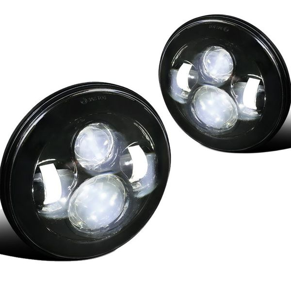 Universal 7-inch Round 45W LED Projector Headlights - Black