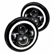 "Universal 7"" Round 45W LED Projector Headlights - Black"