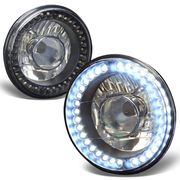 """Universal 7"""" Round Sealed Beam Projector Headlights With LED Ring - Black"""