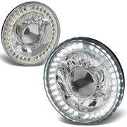 """Universal 7"""" Round Sealed Beam Projector Headlights With LED Ring - Chrome"""