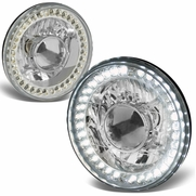 Universal 7-inch Round Sealed Beam Projector Headlights With LED Ring - Chrome