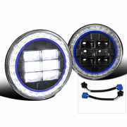 "Universal 7"" Seal Beam Halo LED-Powered w/ Blue-Rim Headlights - Black"