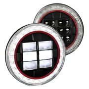 "Universal 7"" Seal Beam Halo LED-Powered w/ Red-Rim Headlights - Black"