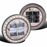 "Universal 7"" Seal Beam Halo & LED-Powered w/ Red-Rim Headlights - Chrome"