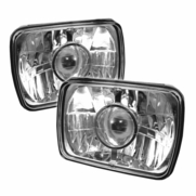 Universal 7-inch x6-inch Crystal Sealed Beam Projector Headlights - Chrome