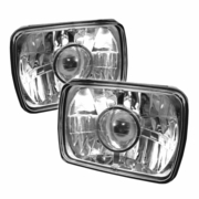 "Universal 7""x6"" Crystal Sealed Beam Projector Headlights - Chrome"