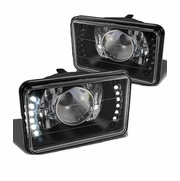 Universal 7x6 Diamon-Cut Projector Headlights With Built-in LED - Black