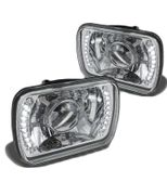 Universal 7x6 Diamon-Cut Projector Headlights With Built-in LED - Chrome