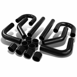 "Universal 8-Pc 2.75""Aluminum Front Mount Intercooler Piping + Silicone Hose Black"