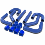 """Universal 8-Pc 2.75""""Aluminum Front Mount Intercooler Piping + Silicone Hose Blue"""