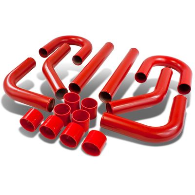 "Universal 8-Pc 2.75""Aluminum Front Mount Intercooler Piping + Silicone Hose Red"