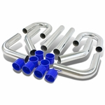 """Universal 8-Pc 2.75""""Aluminum Front Mount Intercooler Piping + Silicone Hose Silver"""