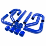 """Universal 8Pc 2.5"""" Aluminum FMIC Intercooler Piping Silicone Hose + T-Clamp Red"""