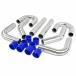 "Universal 8Pc 2.5"" Aluminum FMIC Intercooler Piping Silicone Hose + T-Clamp Silver"