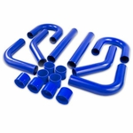 "Universal 8Pc 3"" Aluminum FMIC Intercooler Piping + Silicone Hose + T-Clamp Blue"