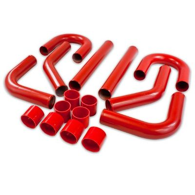 """Universal 8Pc 3"""" Aluminum FMIC Intercooler Piping + Silicone Hose + T-Clamp Red"""