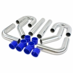 "Universal 8Pc 3"" Aluminum FMIC Intercooler Piping + Silicone Hose + T-Clamp Silver"