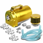 Universal Aluminum Dual Chamber Filter Reservoir Breather Baffled Oil Catch Tank Gold