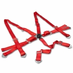 Universal Camlock 6 Point Harness Bar Race Seat Belt Red
