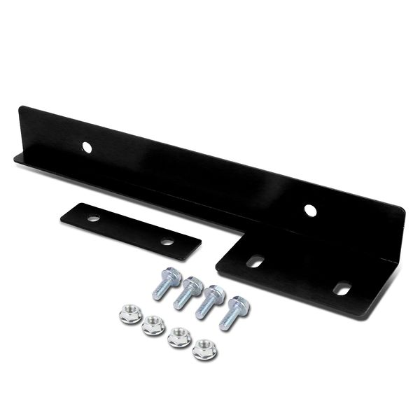 Universal Front Bumper License Plate Relocator Frame Bracket Holder Bar - Black