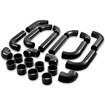 """Universal Type2 12Pc 2.5"""" Aluminum Intercooler Piping + Silicone Hose + Clamps Black"""