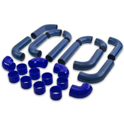 "Universal Type2 12Pc 2.5"" Aluminum Intercooler Piping + Silicone Hose + Clamps Blue"