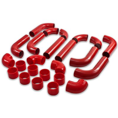 """Universal Type2 12Pc 2.5"""" Aluminum Intercooler Piping + Silicone Hose + Clamps Red"""