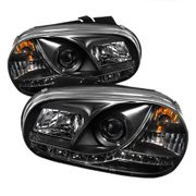 Spyder 99-06 VW MK4 Golf / GTi LED DRL Strip Projector Headlights - Black