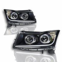 Winjet 11-15 Chevy Cruze DRL Projector Headlights - Black