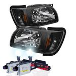 HID Xenon + 01-04 Toyota Tacoma LED DRL Replacement Headlights - Black