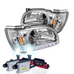 HID Xenon + 01-04 Toyota Tacoma LED DRL Replacement Headlights - Chrome