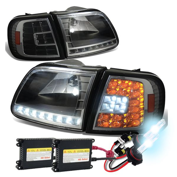 HID Xenon + 97-03 Ford F150 / Expedition LED DRL (LED Signal) Crystal Headlights Set - Black